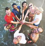 Friends Huddle Join Holiday Party Group Concept Stock Photography