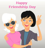 Friends hugging and smiling. Two female cartoon characters. Stock Photos