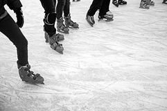 Friends ice skating royalty free stock image