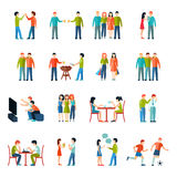 Friends Icons Flat Set Stock Image