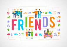 Friends Icons Flat. Friends and social community relationship icons flat set isolated vector illustration Stock Photo