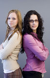 Friends II. Two women posing royalty free stock images