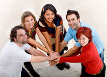 Friends indoors Stock Photo