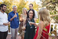 Friends interacting while having champagne in balcony. At home Stock Photography