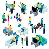 Friends Isometric Set Royalty Free Stock Photo