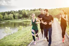 Friends jogging outdoors. Group of friends jogging during the morning exercise in the park near the lake royalty free stock image