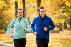Friends jogging together Royalty Free Stock Image