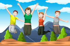 Friends jumping. A vector illustration of happy friends jumping together Royalty Free Stock Photography