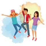 Friends jumping cartoon. Icon vector illustration graphic design Stock Image