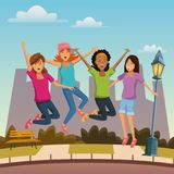 Friends jumping in the city. Icon vector illustration graphic design Stock Photos
