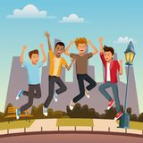 Friends jumping in the city. Icon vector illustration graphic design Stock Photography