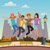 Friends jumping in the city. Icon vector illustration graphic design Royalty Free Stock Images