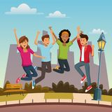 Friends jumping in the city. Icon vector illustration graphic design Stock Image
