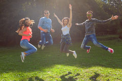 Friends jumping and having fun at sunny day Royalty Free Stock Photography