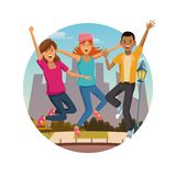 Friends jumping at park. Icon vector illustration graphic design Stock Photos