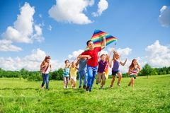 Friends with kite Royalty Free Stock Photography