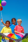 Friends with a kite Royalty Free Stock Photo