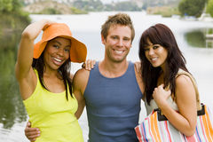 Friends at the lake Stock Photography