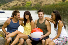 Friends lake Stock Image