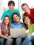 Friends with a laptop Stock Photo