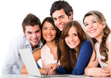 Friends with a laptop Stock Image