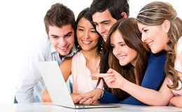 Friends with a laptop Royalty Free Stock Image