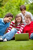 Friends with laptop outdoors Stock Image