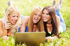 Friends with laptop in the park Royalty Free Stock Images