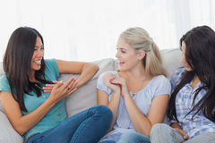 Friends laughing and chatting together Stock Photo