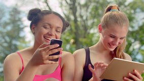 Friends laughing. Multiracial women smiling together. Close up of happy faces. Friends laughing. Multiracial women smiling together. Close up of girlfriends stock video footage