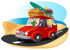 Friends leaving for summer vacation. A illustration of  friends  riding a van leaving for summer vacation Royalty Free Stock Photos