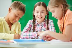 Friends at lesson Royalty Free Stock Photo