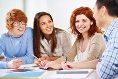 Friends at lesson Royalty Free Stock Image