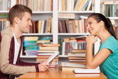 Friends in library. Stock Image