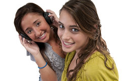 Friends listen music Stock Photos
