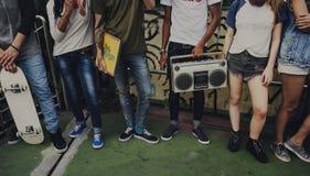 Friends Listening Music Entertainment Concept. Friends Listening Music Entertainment Stereo royalty free stock photo