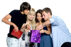 Friends look gifts. Stock Photography