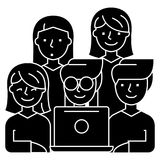 Friends looking at notebook - 5 persons icon, vector illustration, black sign on isolated background Royalty Free Stock Image