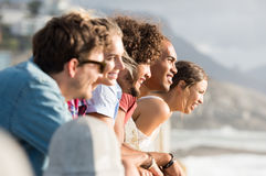 Friends looking at sunset Royalty Free Stock Images