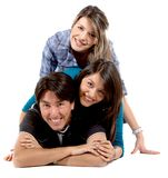 Friends lying on the floor Royalty Free Stock Photo