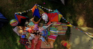 Friends lying on grass stock video