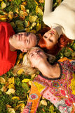 Friends Lying On Leaves Royalty Free Stock Photo