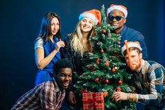 Friends makes fun on Christmas holyday with christmas tree. Cheerful friends makes fun on Christmas holyday with christmas tree Royalty Free Stock Images