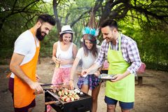 Friends making barbecue and having lunch in the nature royalty free stock photo
