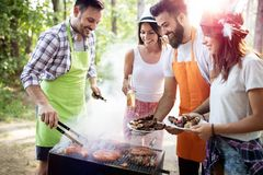 Friends making barbecue and having lunch in the nature stock photo