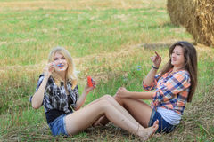 Friends making iridescent soap bubbles on summer ranch Royalty Free Stock Image
