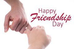 Friends making a pinkie promise. Hands isolated on white background. Happy international friendship day. Friends making a pinkie promise. Hands isolated on royalty free stock images
