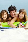 Friends on mattress Royalty Free Stock Photo