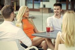 Free Friends Meet In Summer Cafe Royalty Free Stock Photo - 120438985