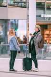Friends meet up and have fun at Utrecht Central Railway Station, Netherlands Stock Images
